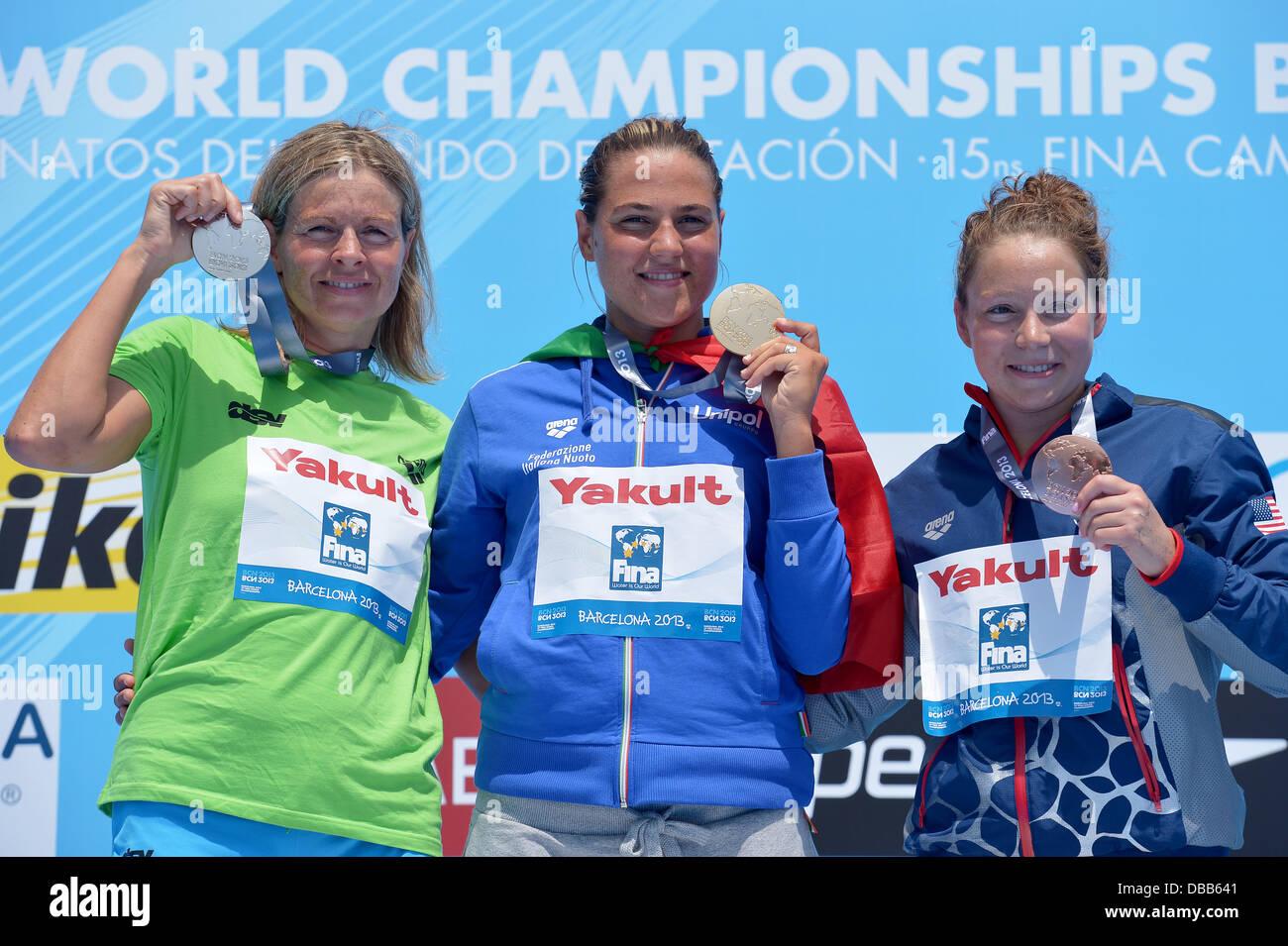 Barcelona, Spain. 27th July, 2013. Gold medalist Martina Grimaldi (C) of Italy, 2nd Angela Alexandra Maurer (L) Stock Photo