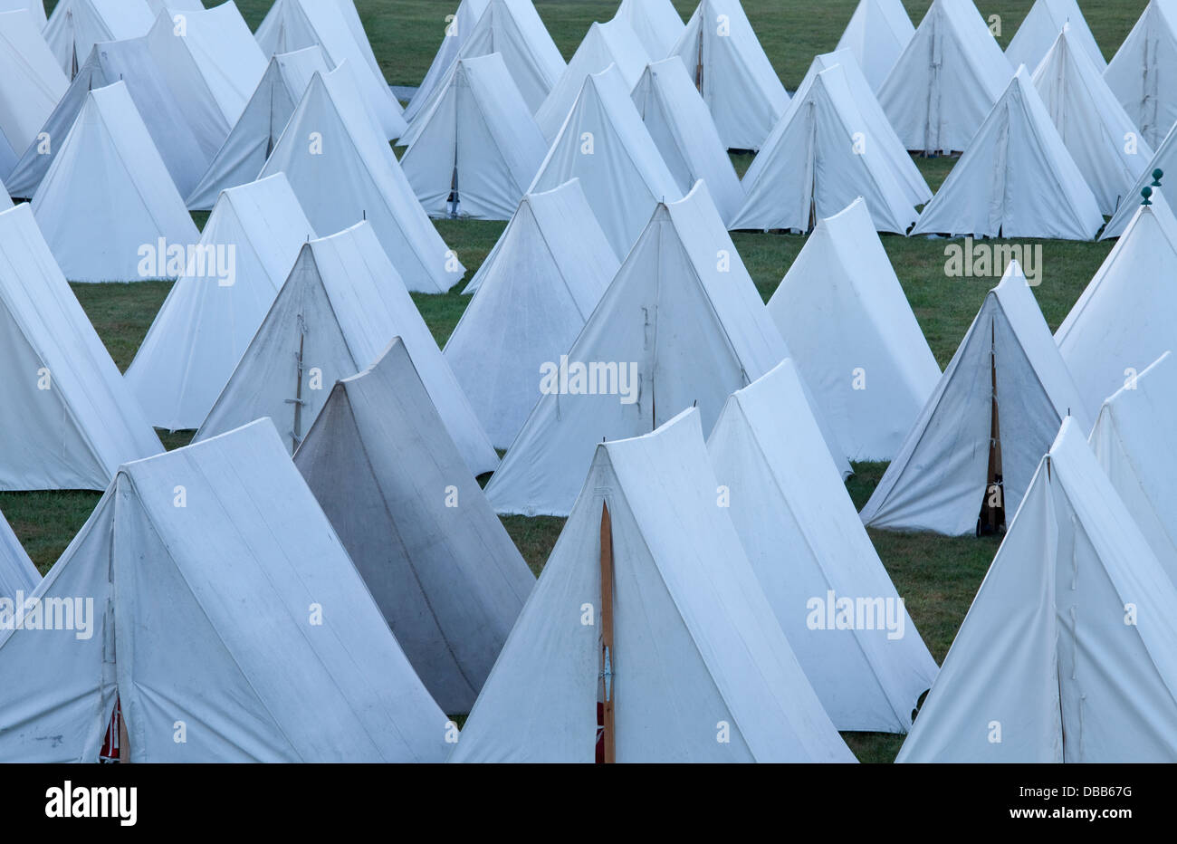 Canada,Ontario,Niagara-on-the-Lake,Fort George National Historic Park,rows of white canvas tents - Stock Image