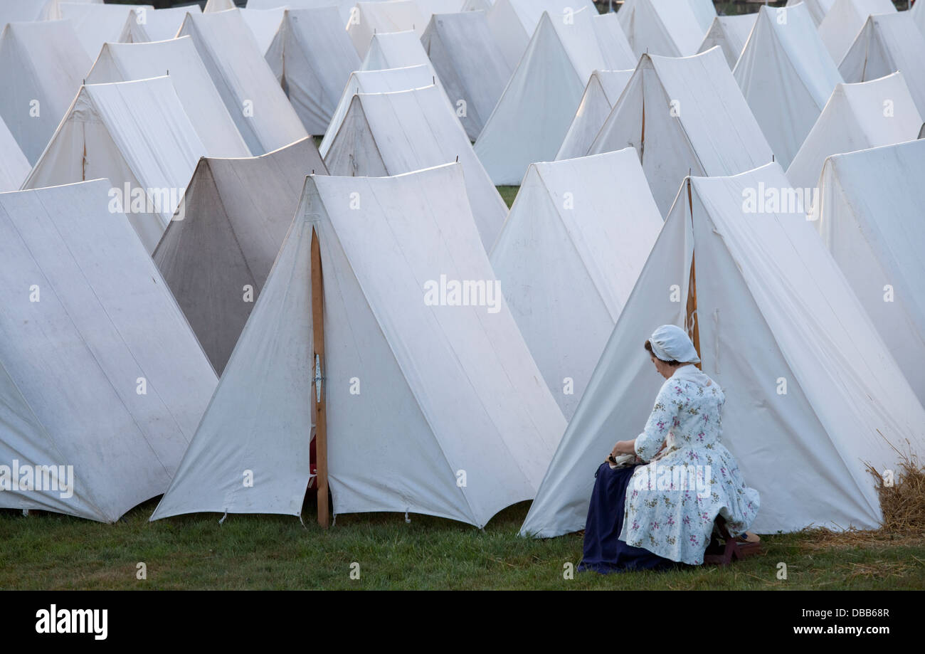 Canada,Ontario,Niagara-on-the-Lake,Fort George National Historic Park,rows of white canvas tents, - Stock Image