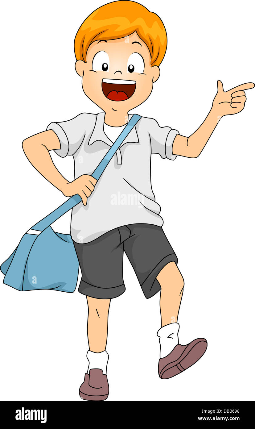 illustration of little kid boy student carrying a sling bag stock