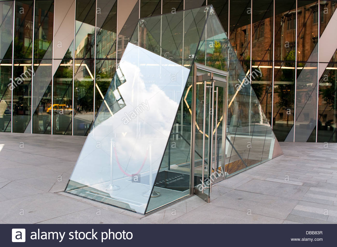 Glass triangle of Australasia restaurant, The Avenue, Spinningfields, Manchester, UK - Stock Image