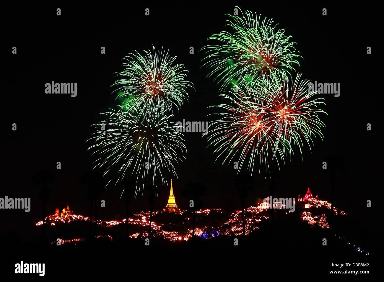Khao Wang Festival with Firework on Khao Wang Mountain Palace in Phetchaburi, Thailand - Stock Image