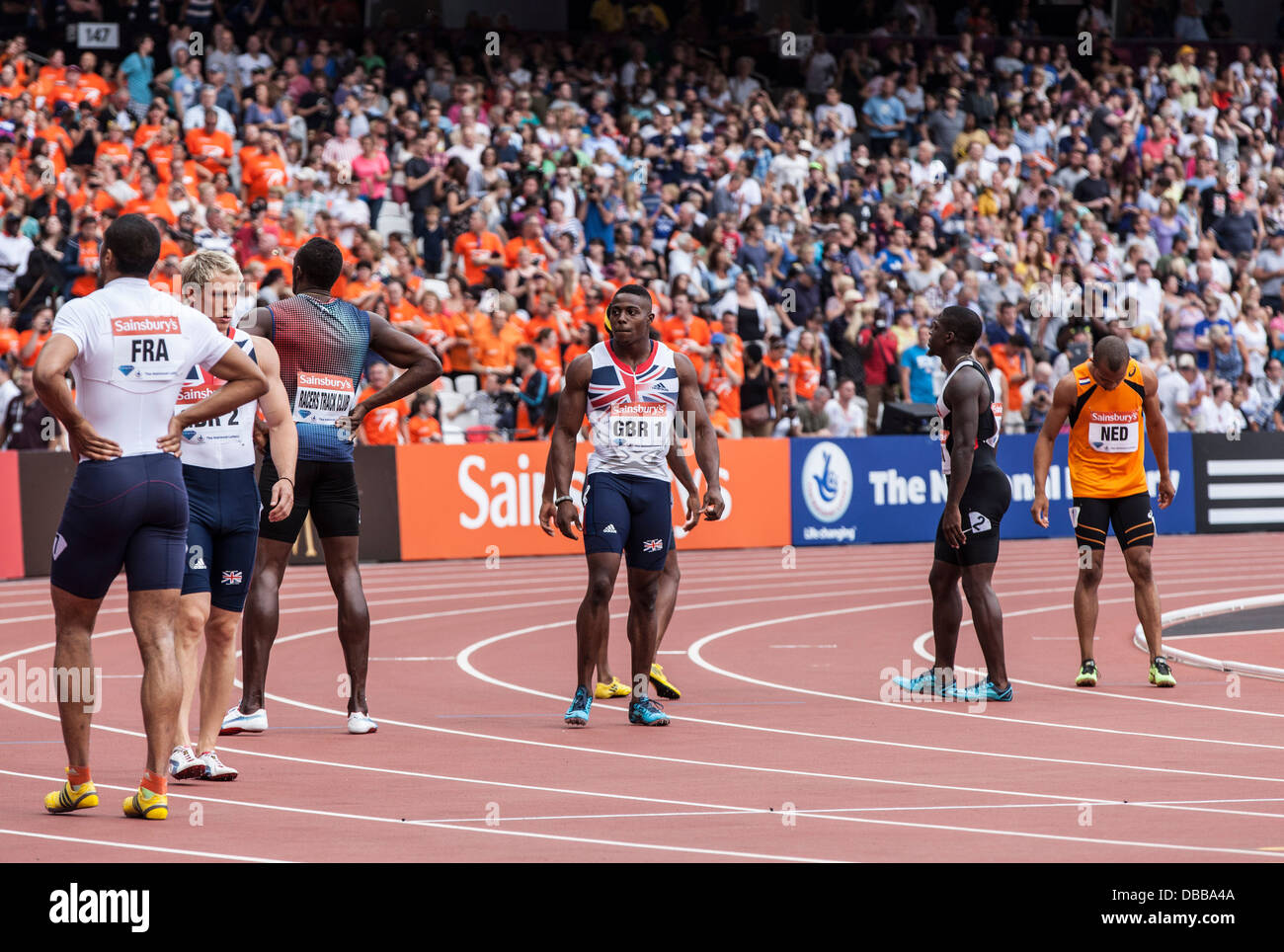 London, UK. 27th July, 2013. 4x100m mens relay in the Olympic Stadium, Anniversary Games British Athletics in London. - Stock Image