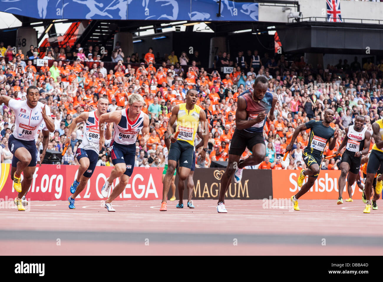 London, UK. 27th July, 2013. Olympic Stadium, Anniversary Games British Athletics in London. Usain Bolt (right) - Stock Image