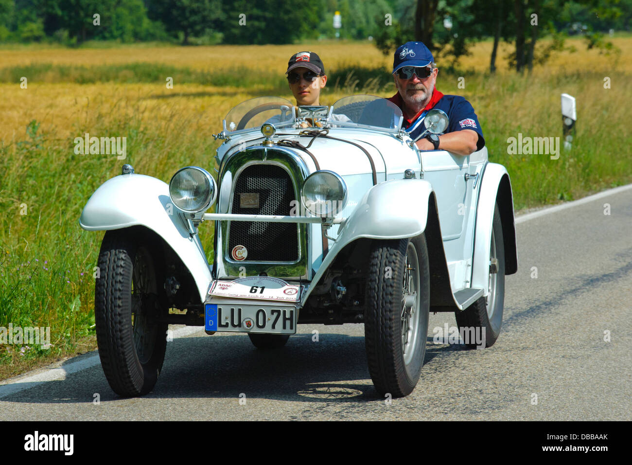 Oldtimer rallye for at least 80 years old antique cars with Aero 10, built at year 1929 - Stock Image