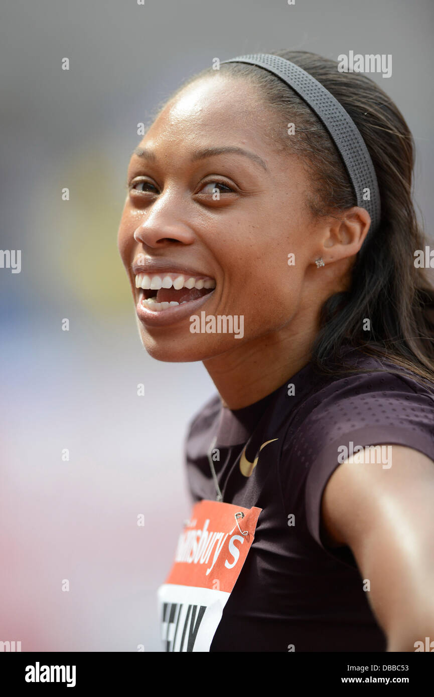 LONDON, UK. Saturday 27th July 2013. Allyson Felix of the USA shows her delight after winning the 200m Women's - Stock Image
