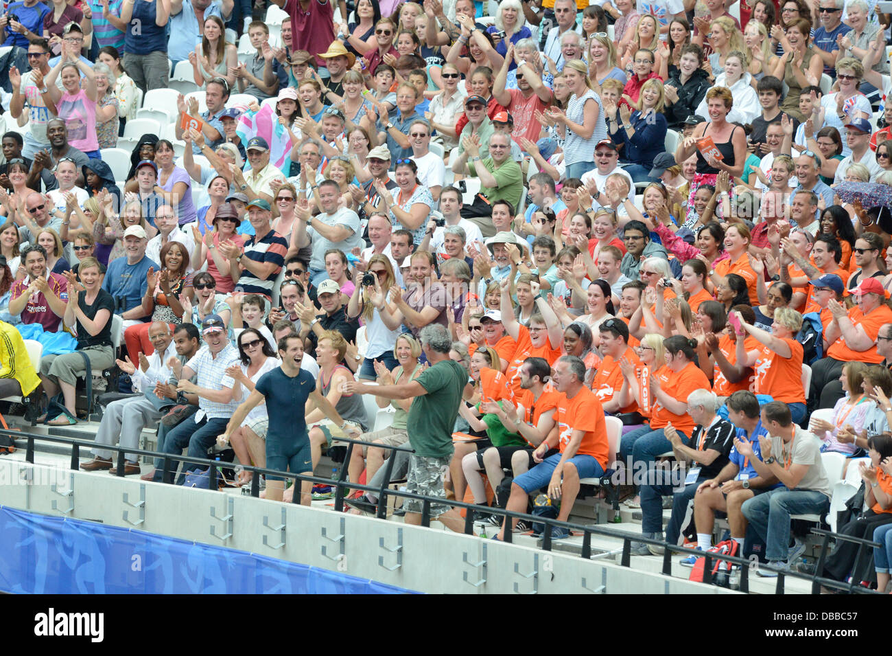 LONDON, UK. Saturday 27th July 2013. Renaud Lavillenie of France runs into the crowd to celebrate winning the Men's - Stock Image