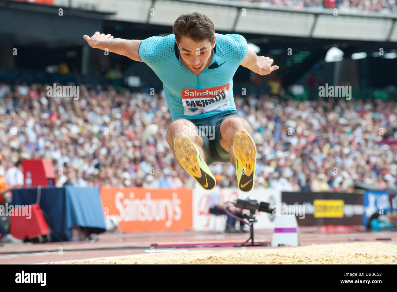 LONDON, UK. Saturday 27th July 2013. Aleksandr Meknov of Russia wins first place in the Men's Long jump of the - Stock Image