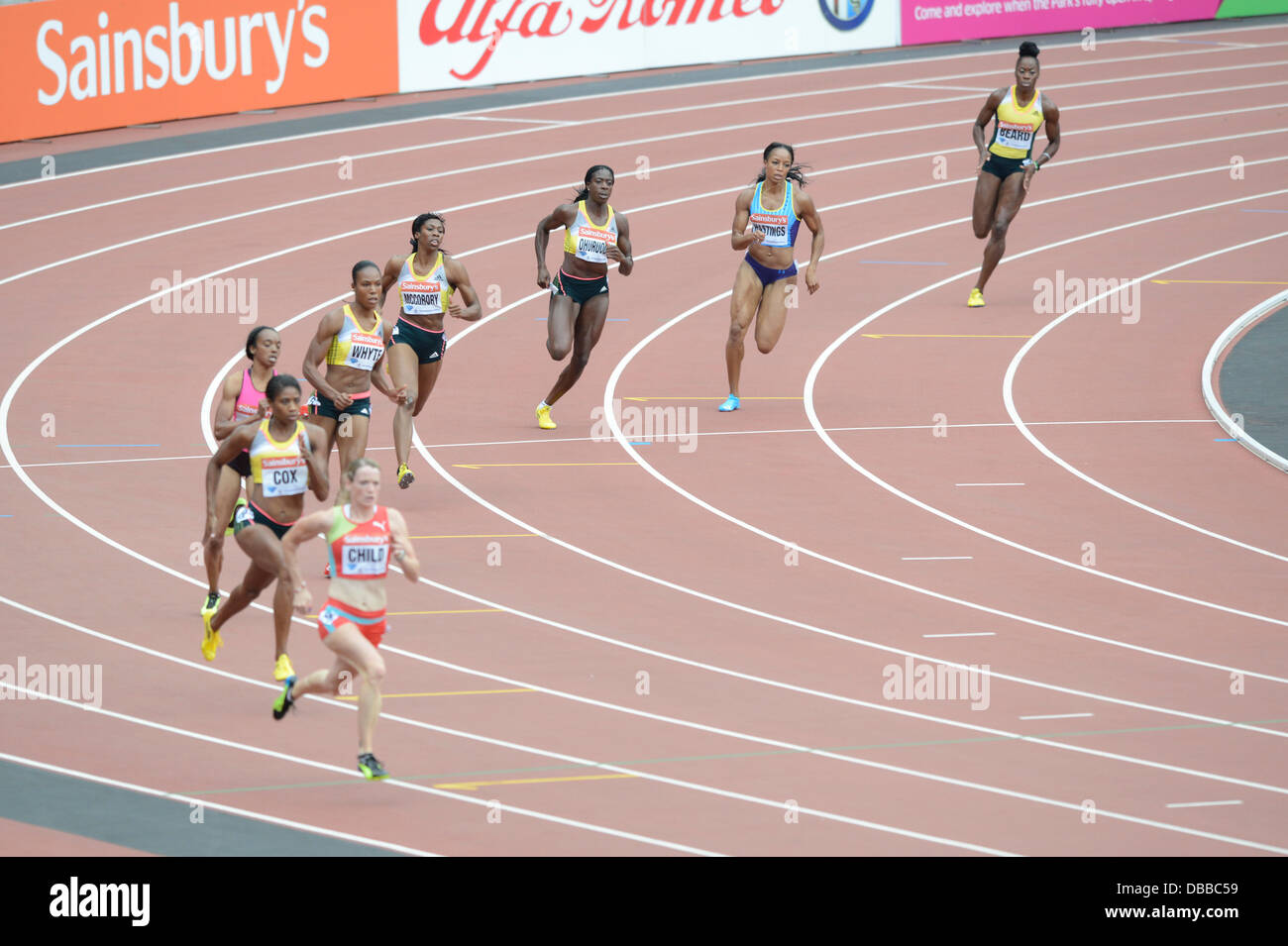 LONDON, UK. Saturday 27th July 2013. Christine Ohuruogo (3rd right) of Great Britain wins the Women's 400m event - Stock Image