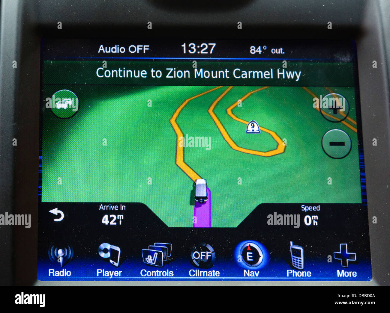 Dashboard integrated satellite navigation in a Chrysler 300, USA - Stock Image