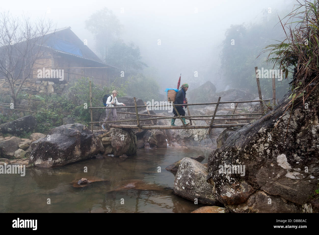 An unidentified tourist and her guide hike in the mist on January 18, 2008 in Sapa District, Vietnam - Stock Image