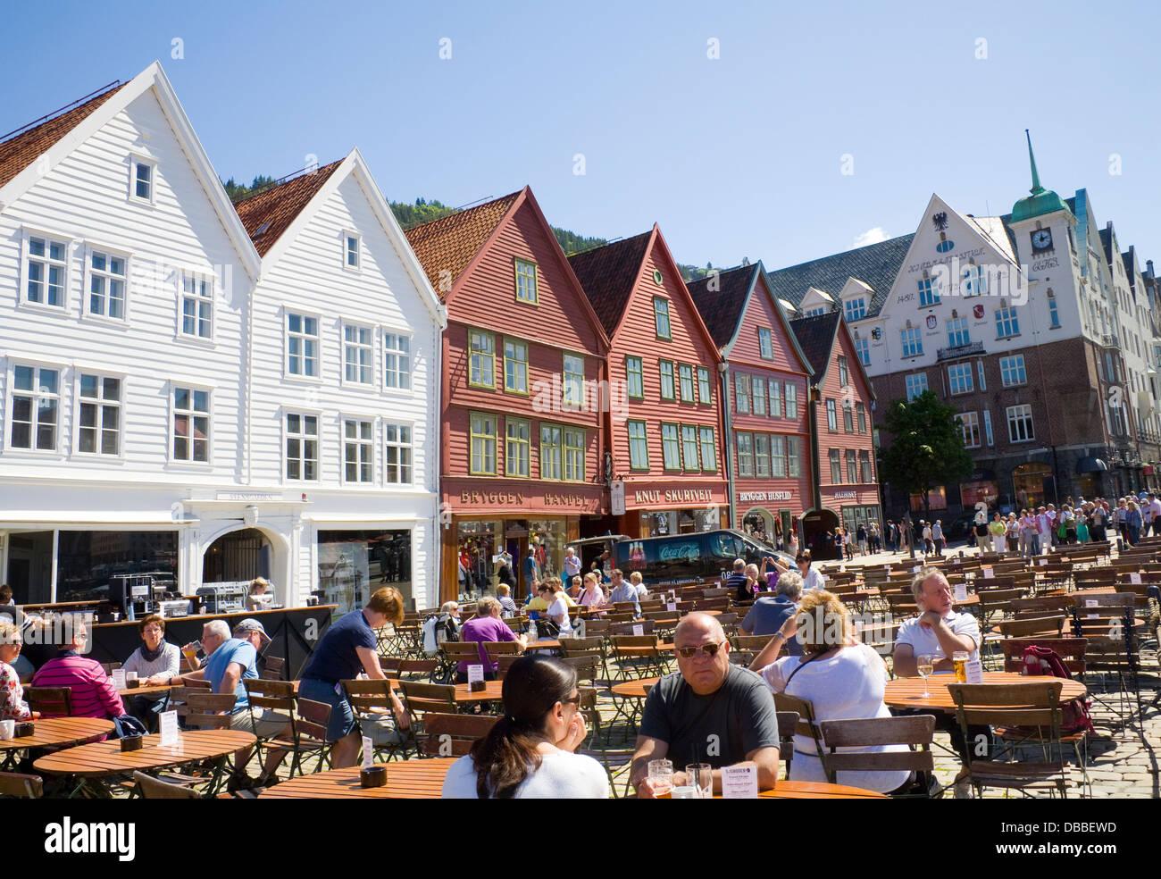 Bergen Norway Europe Preserved wooden buildings Bryggen on world renowned Hanseatic Wharf - Stock Image