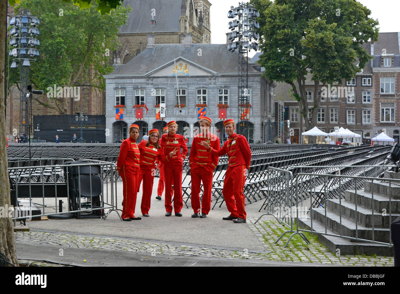 André Rieu concert seating with ushers dressed in bellboy uniforms ready to assist people to their places - Stock Image