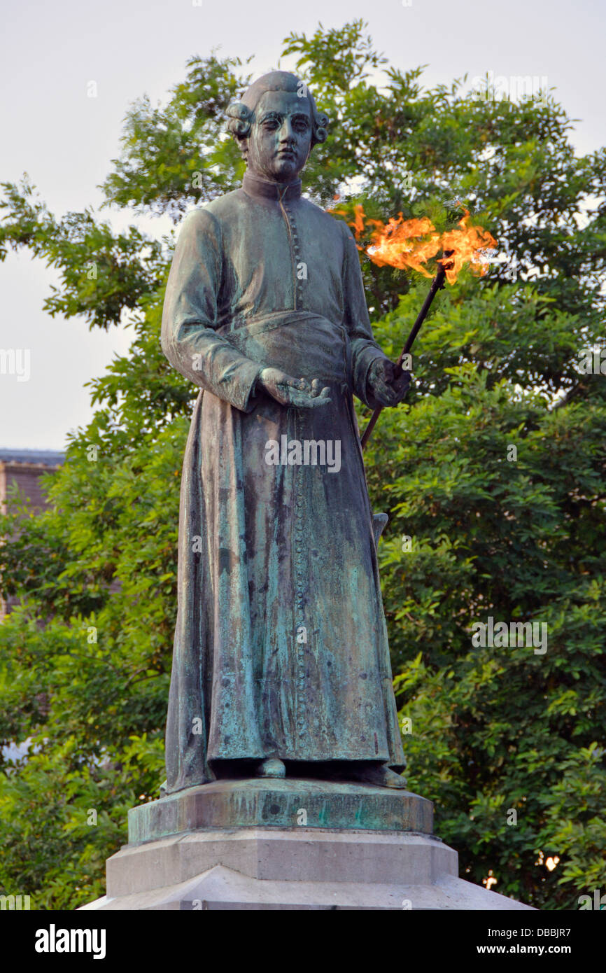 The eternal burning flame on the statue of Jean Pierre Minckelers a professor and an inventor of illuminating gas - Stock Image