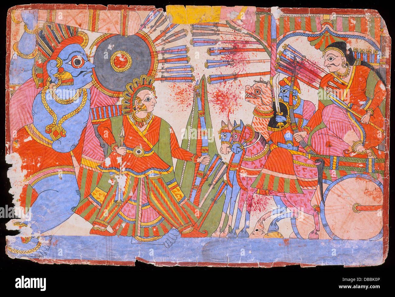 Vrishaketu and Bhima Fighting Yavanatha, Scene from the Story of Babhruvahana, Folio from a Mahabharata (-War of - Stock Image