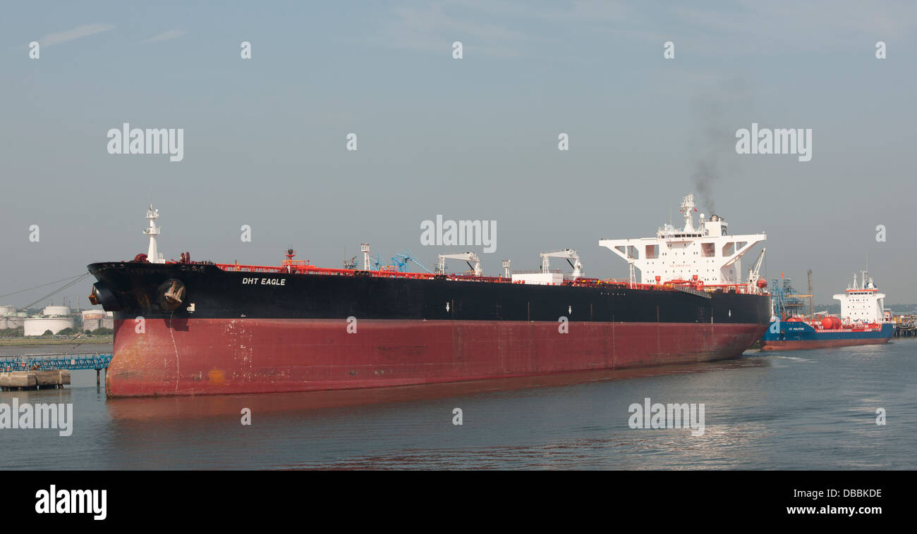 DHT Eagle (crude oil tanker) moored at Esso Refinery, Southampton Water, Southampton, Hampshire, England UK. - Stock Image
