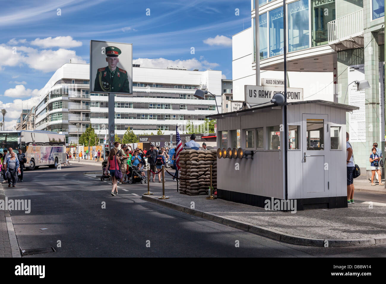 Picture of Soviet (Russian) soldier at Checkpoint Charlie border post - Friederichstrasse, Berlin - Stock Image