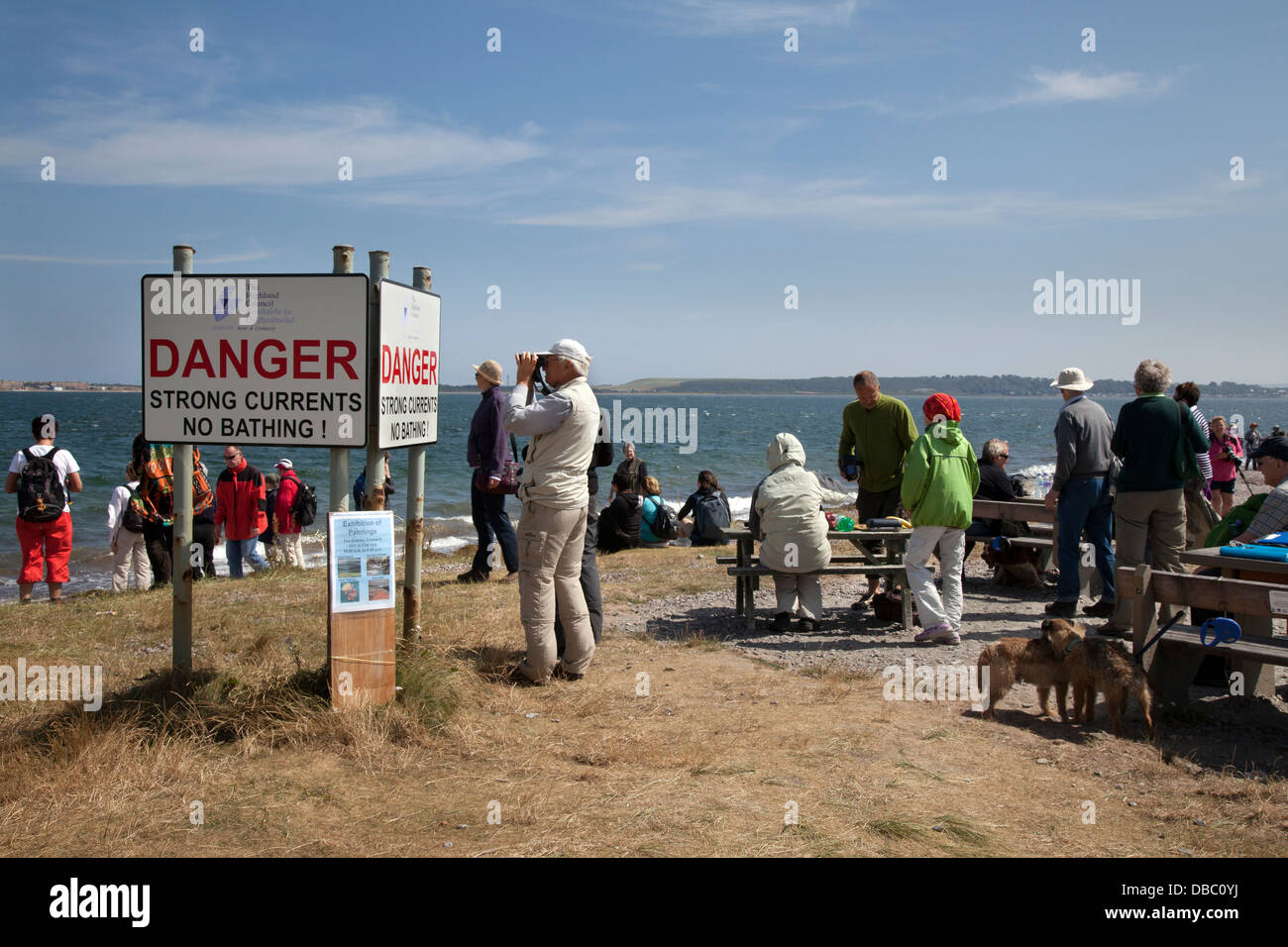 Dolphin watchers looking out to sea at Chanonry Point, Tourists watching the Moray Firth, Bottlenose dolphins, Cromarty, - Stock Image