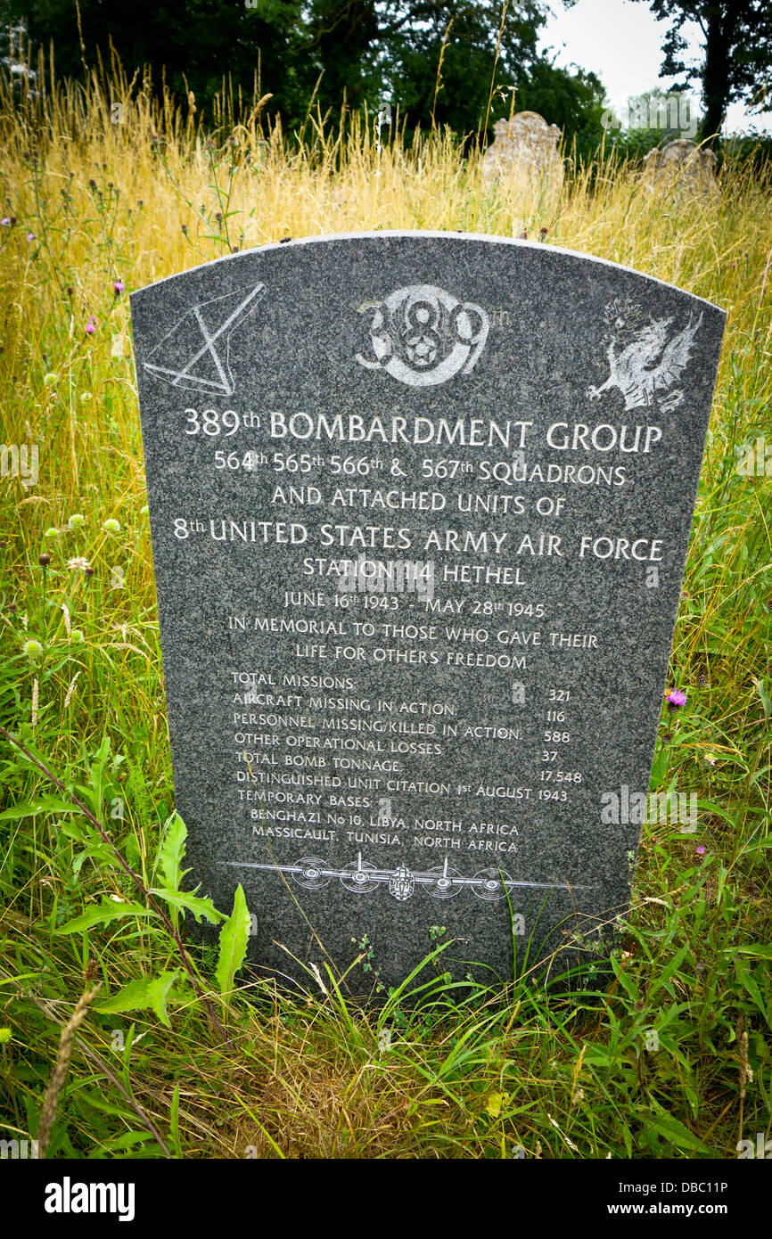 Memorial to USAF 389 Bombardment Group - Stock Image