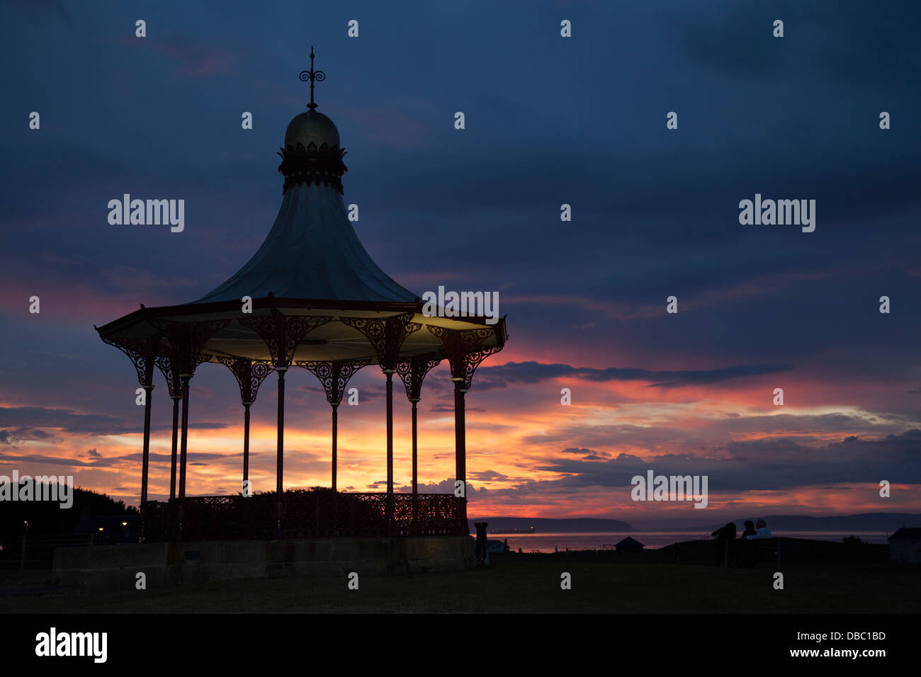Nairn beach, bandstand & Pavilion on the Moray firth at sunset, Invernesshire, Scotland, UK - Stock Image