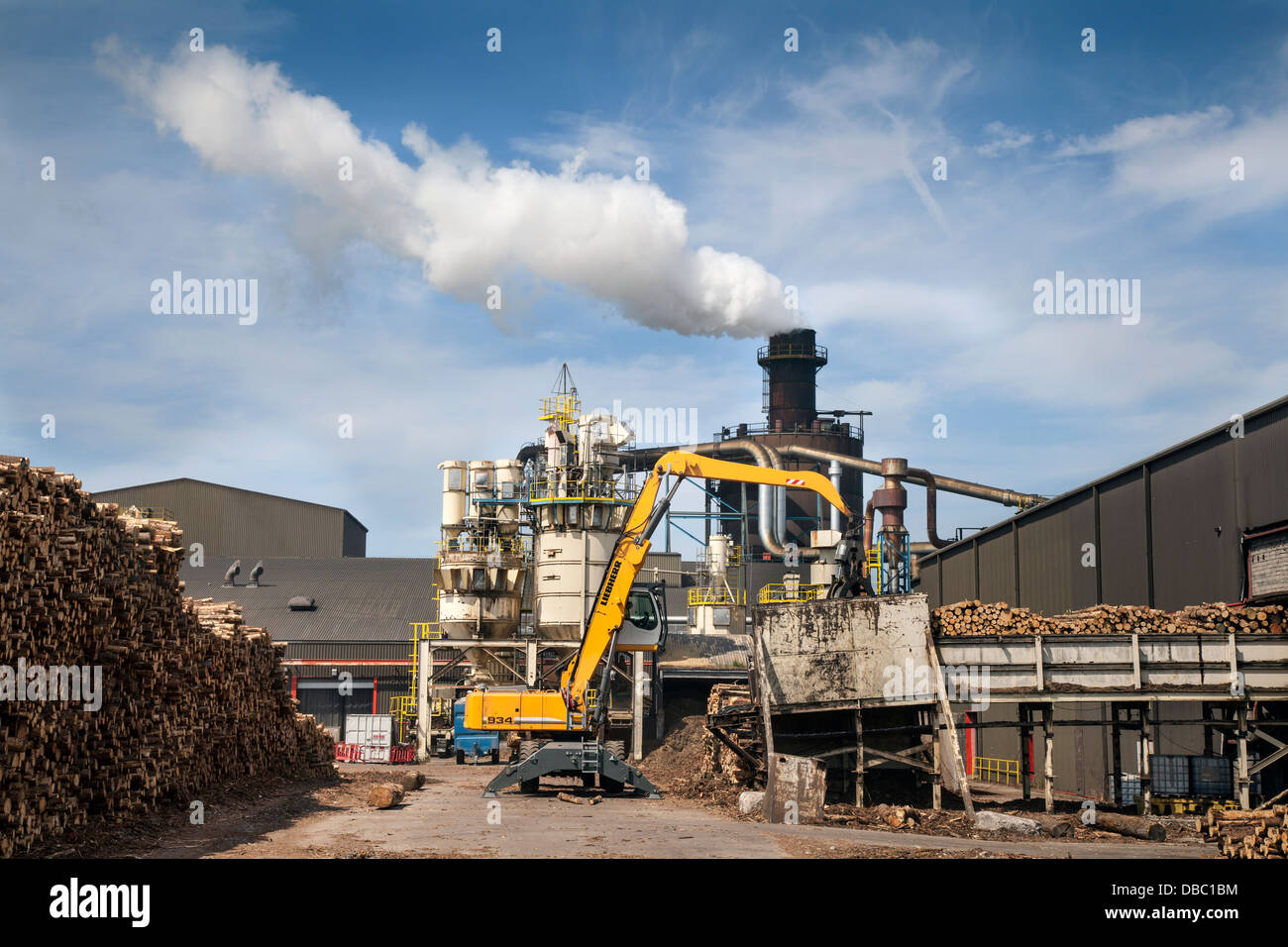 Scottish Tree Logging, Steam Emissions Bioenergy Norbord processing plant Biomass Plant Inverness, Morayhill, Dalcross, - Stock Image