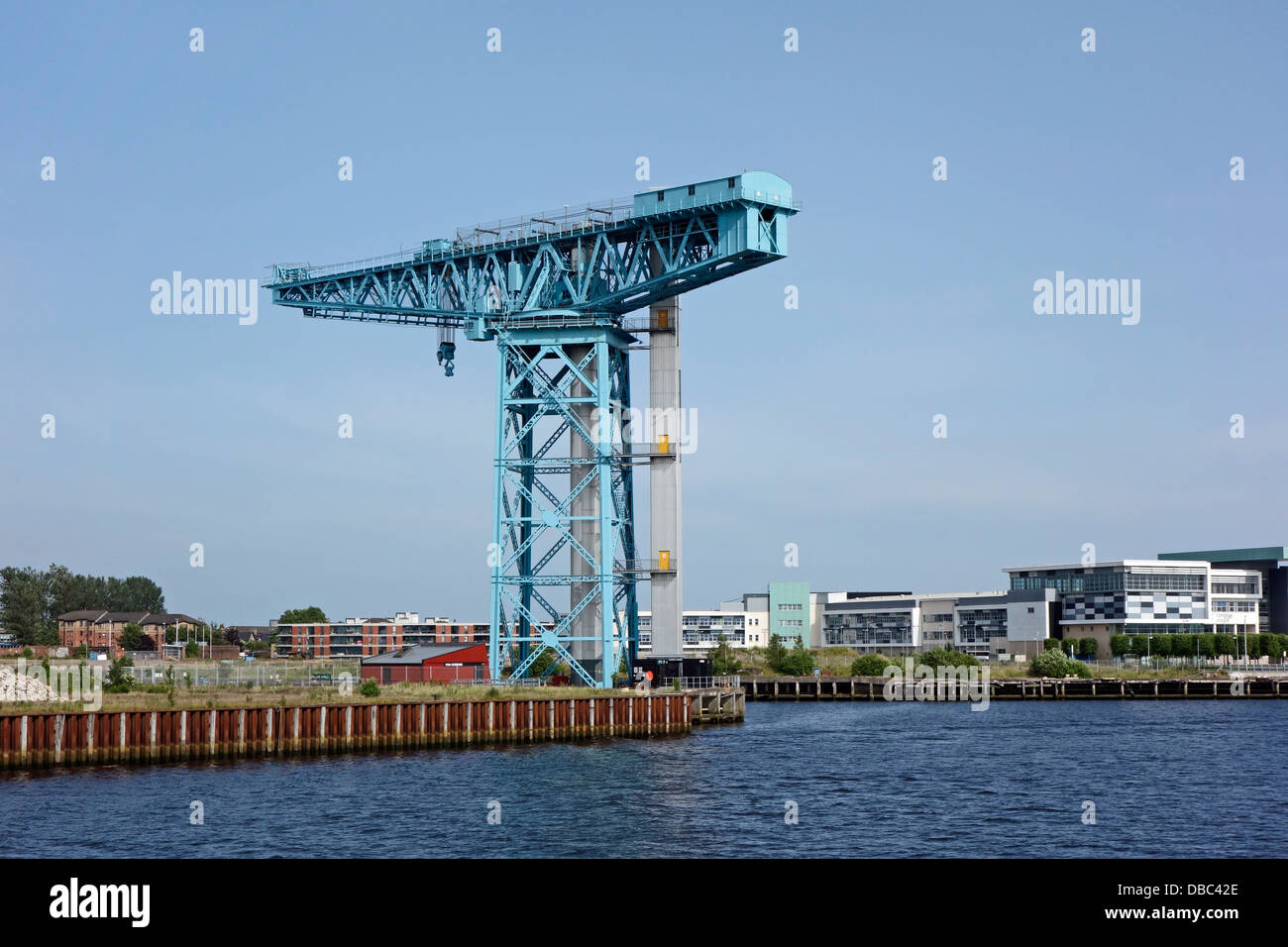 The Titan Crane in Clydebank Scotland on the site of the old John Brown shipyard viewed from the River Clyde & - Stock Image