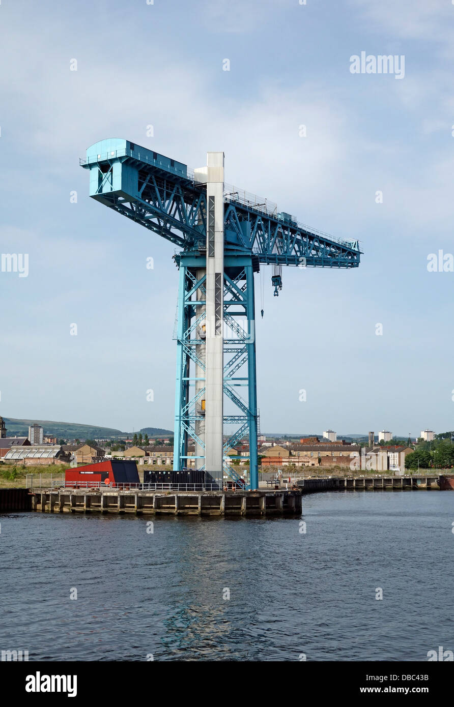 The Titan Crane in Clydebank Scotland on the site of the old John Brown shipyard as seen from the River Clyde - Stock Image