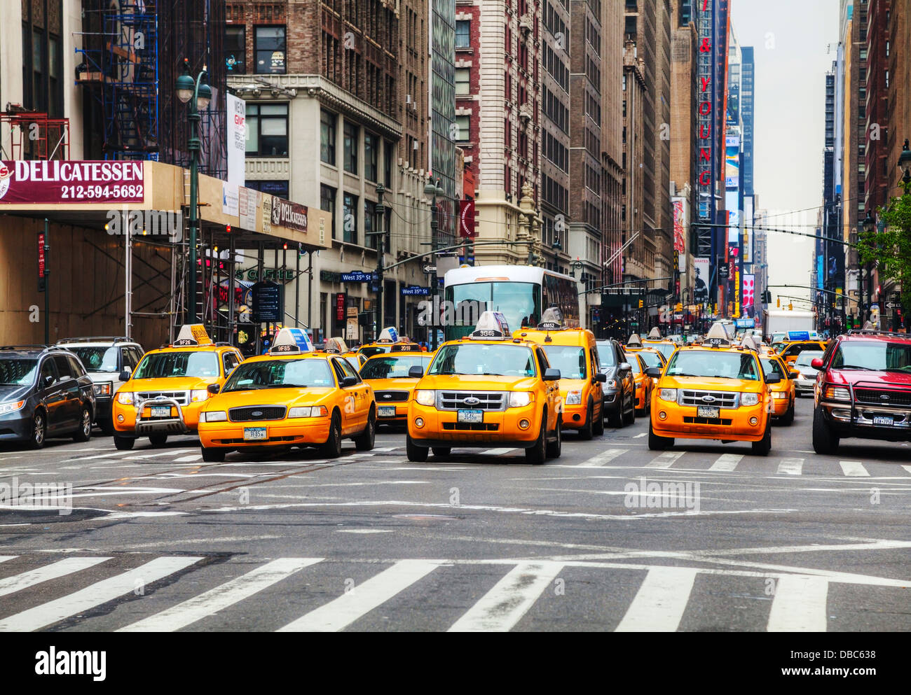 yellow taxis at the street in new york yellow cars serve as taxis in stock photo 58660540 alamy. Black Bedroom Furniture Sets. Home Design Ideas