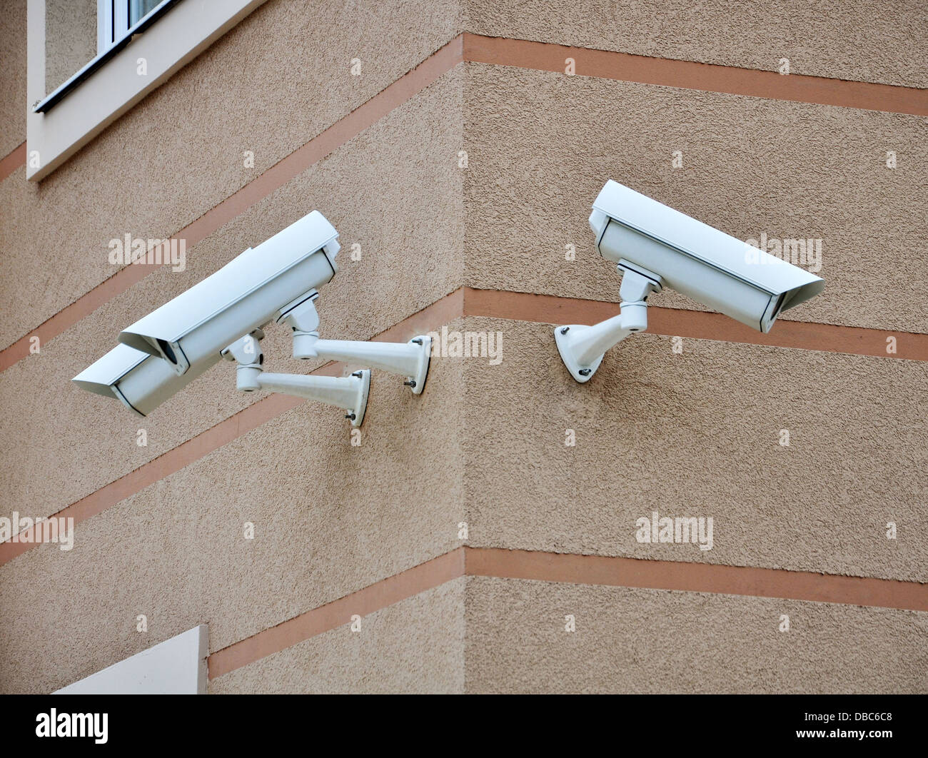 CCTV cameras on the cone of the morden building Stock Photo