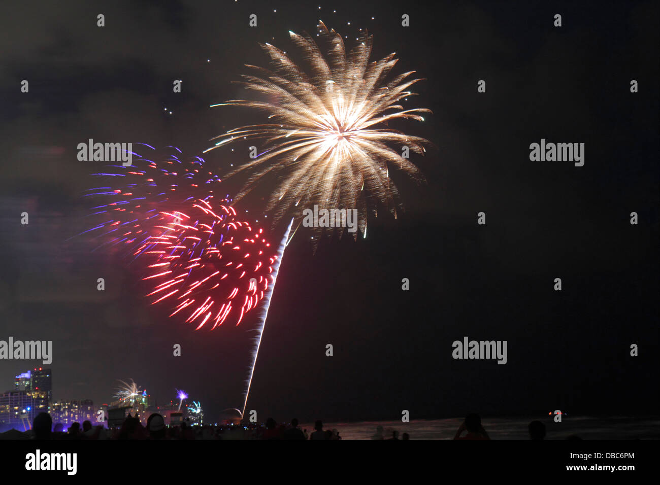 Miami Beach Florida Fourth 4th of July fireworks display celebration public event burst night Atlantic Ocean shoreline Stock Photo