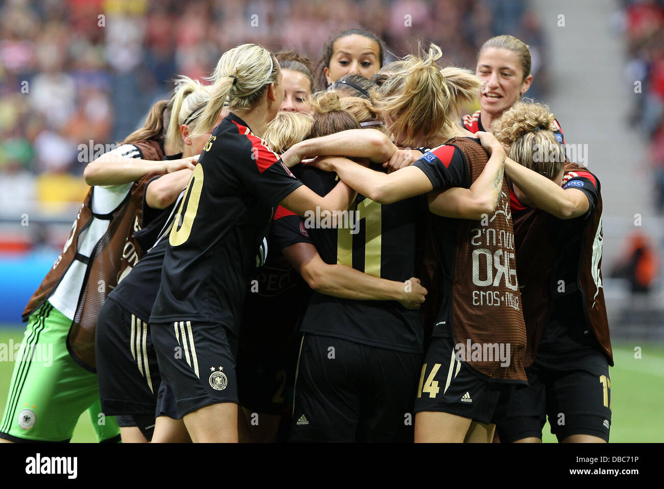 28.07.2013, xfsx, Fussball EM 2013 Finale, Deutschland - Norwegen, v.l. Deutsche Spielerinnen mit Torjubel, celebrate - Stock Image