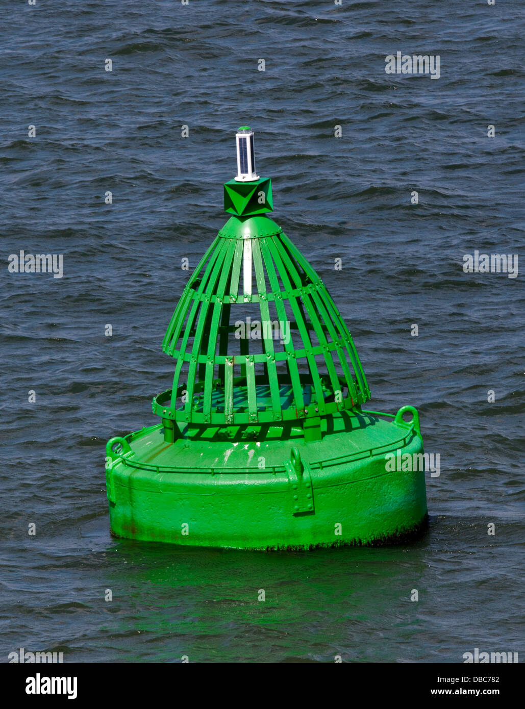 Green Buoy, Southampton Water, Hampshire, England - Stock Image