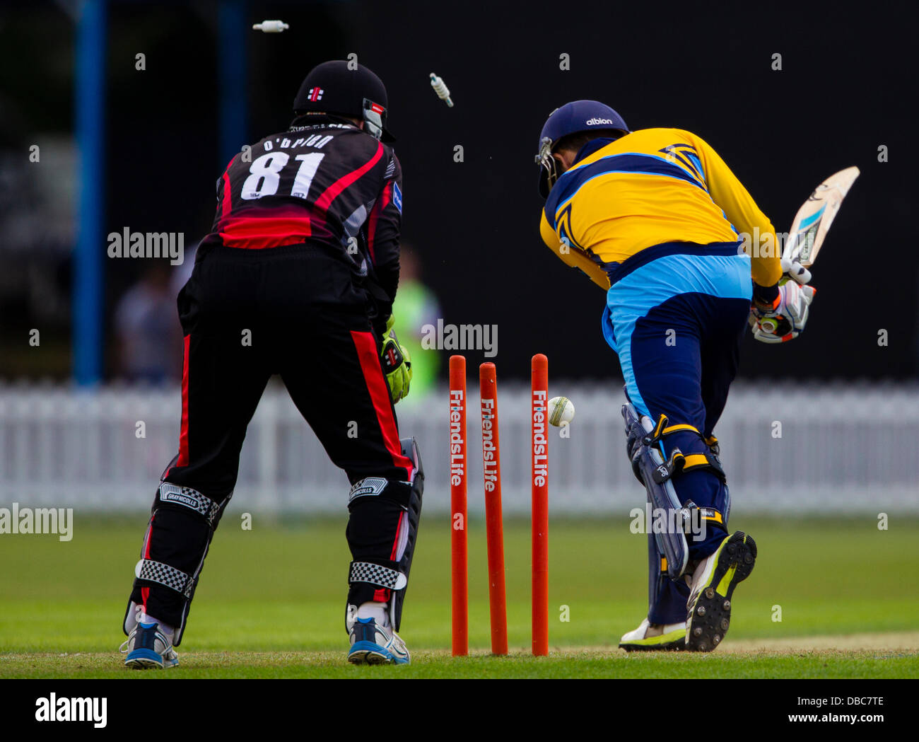 Leicester, UK. Sunday 28th July 2013.  Yorkshire's Richard Pyrah is bowled by Leicestershire's Shakib Al - Stock Image