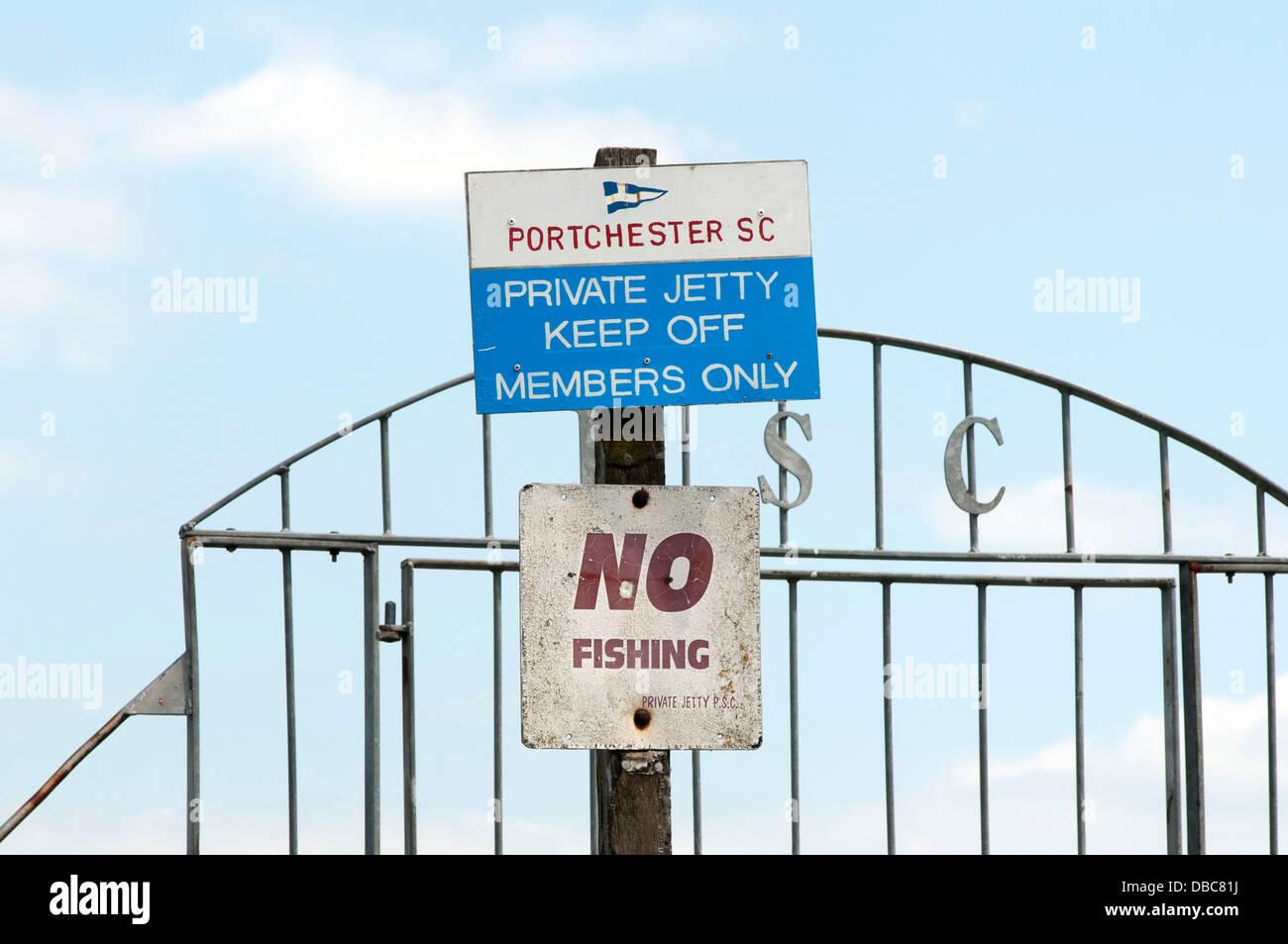 No fishing sign at Portchester sailing club - Stock Image