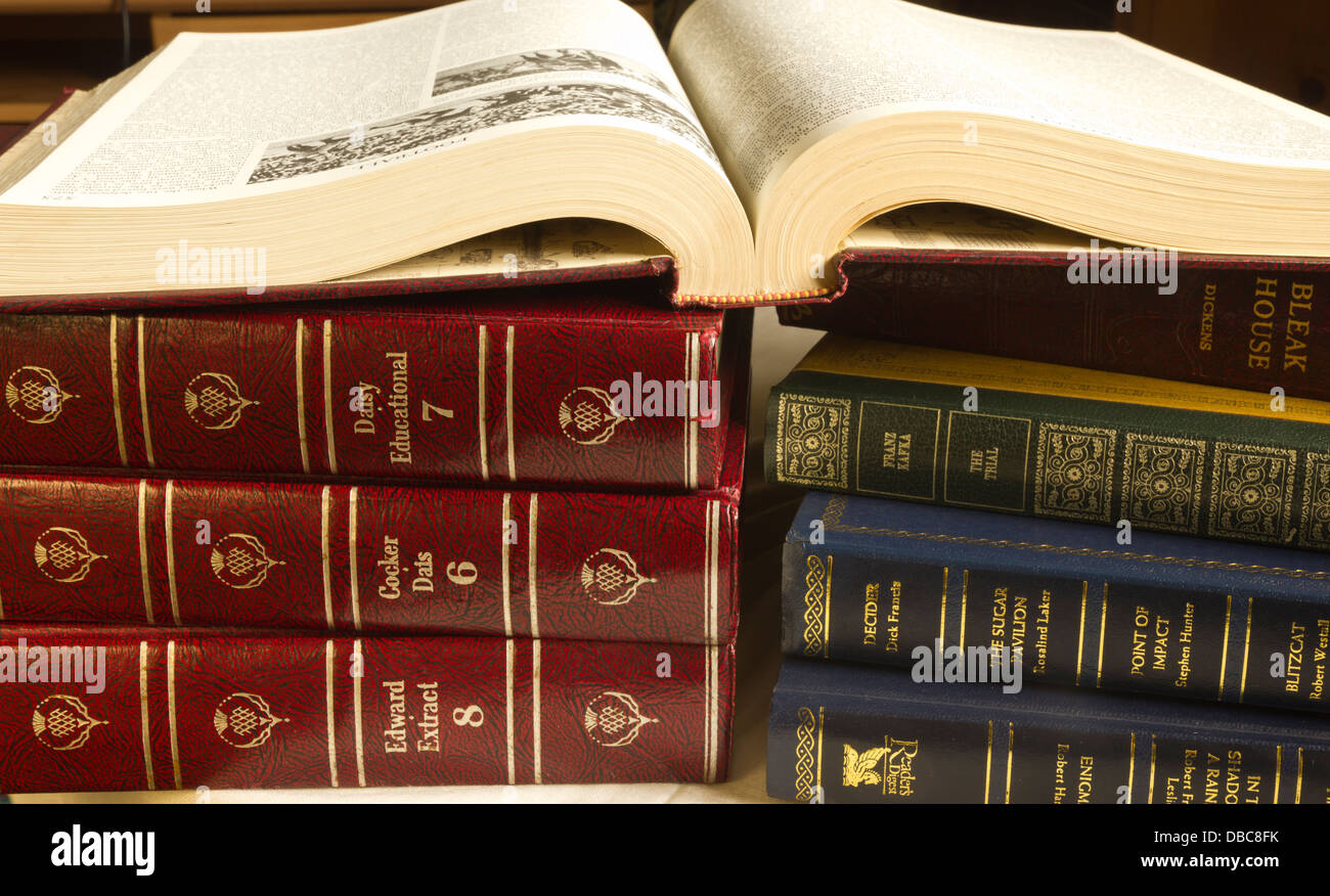 Books, leather-bound, Encyclopedias, Reference, Story Books, - Stock Image