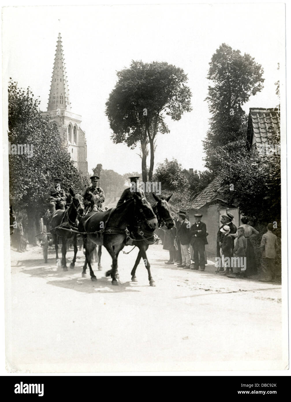 Indian cavalry and transport passing through a French town Estr C3 A9e Blanche (Photo 24-119) - Stock Image