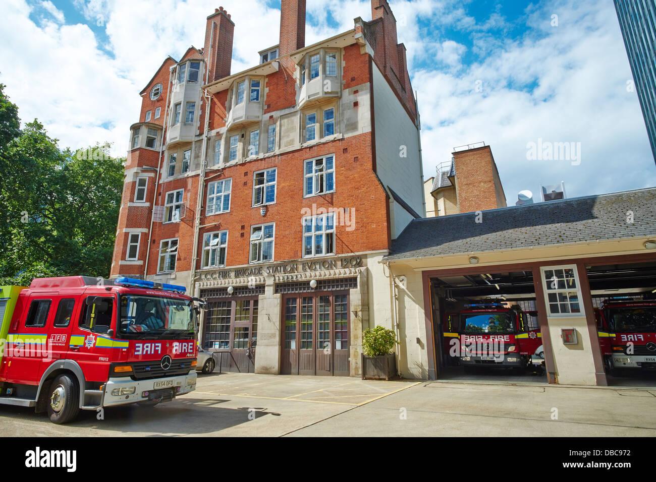 LCC Fire Brigade Station Euston Road London UK - Stock Image