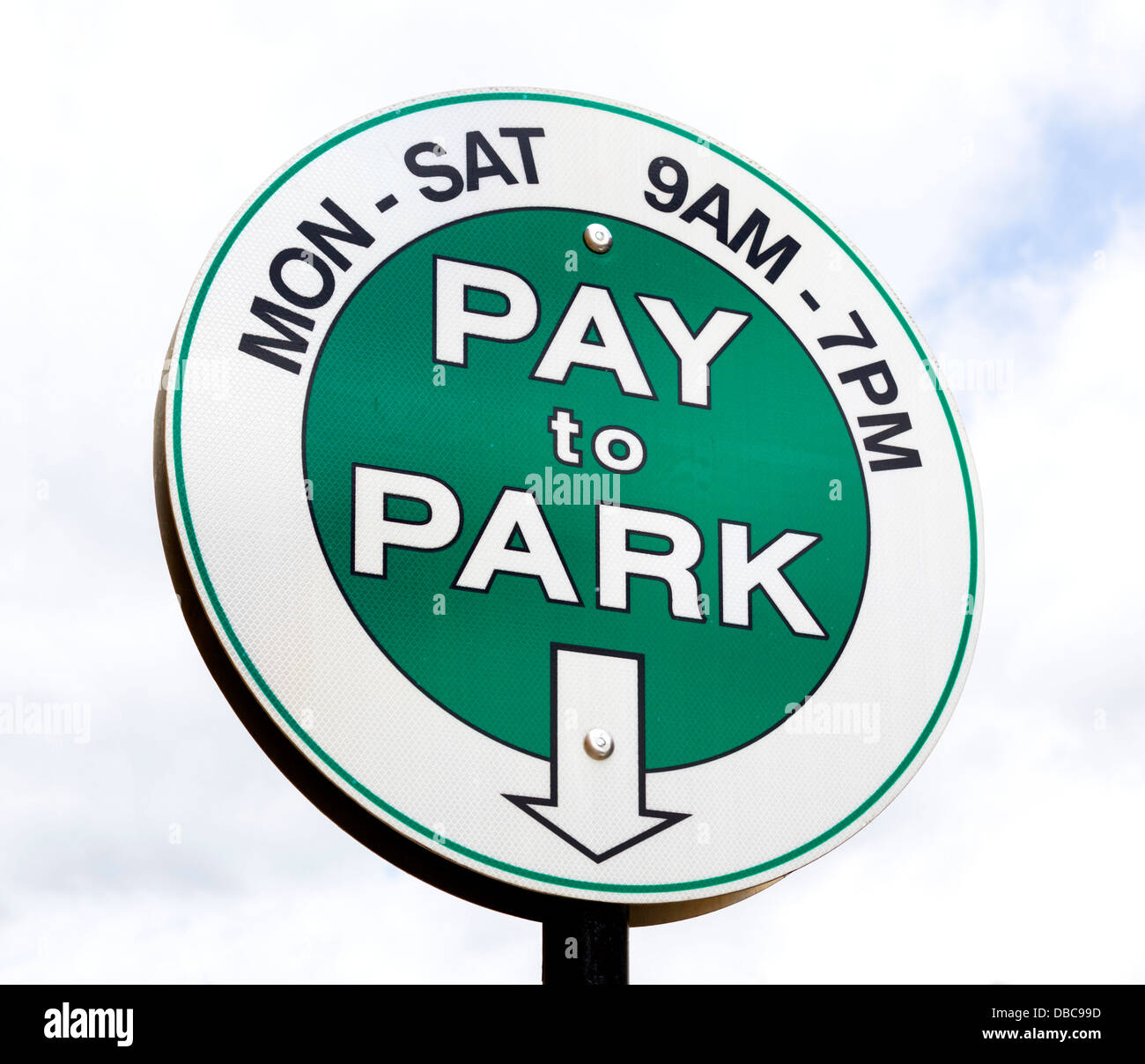 Sign for Pay Parking in downtown Boulder, Colorado, USA - Stock Image