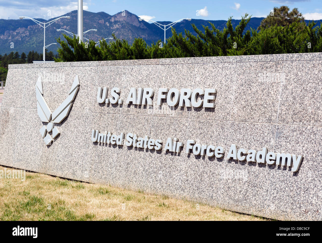 Entrance to the United States Air Force Academy, Colorado Springs, Colorado, USA - Stock Image