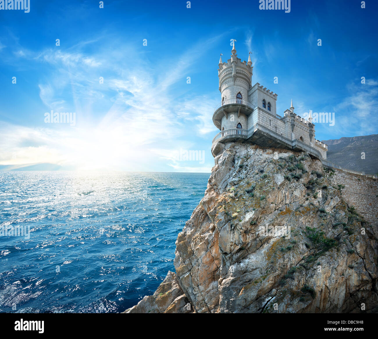 Swallow's Nest Castle on the rock in the Black sea - Stock Image