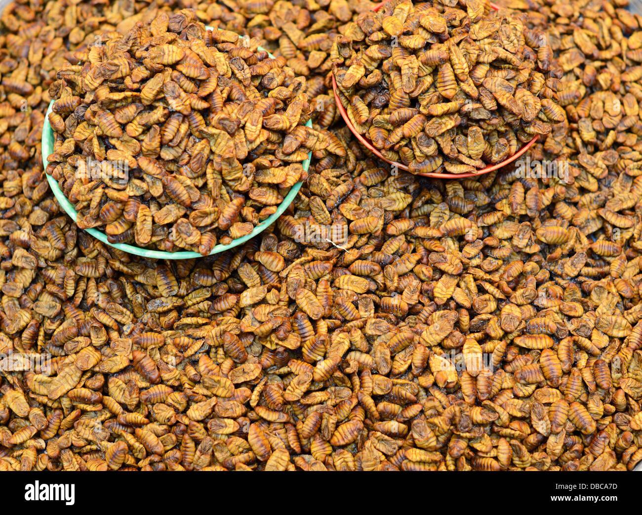 Beoundegi silkworm pupa for sale as a snack in Seoul, South Korea. - Stock Image