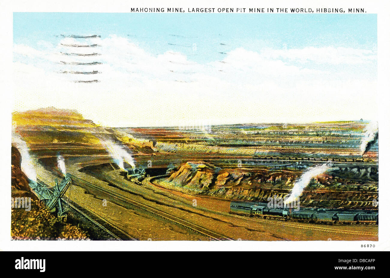 The Mahoning Mine, which in this 1940s postcard was billed as the Largest Open Pit Mine in the World, is in Hibbing, - Stock Image