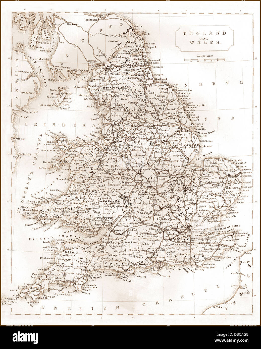 Map Of Victorian England.1840s Victorian Map Of Railways In England And Wales Stock Photo