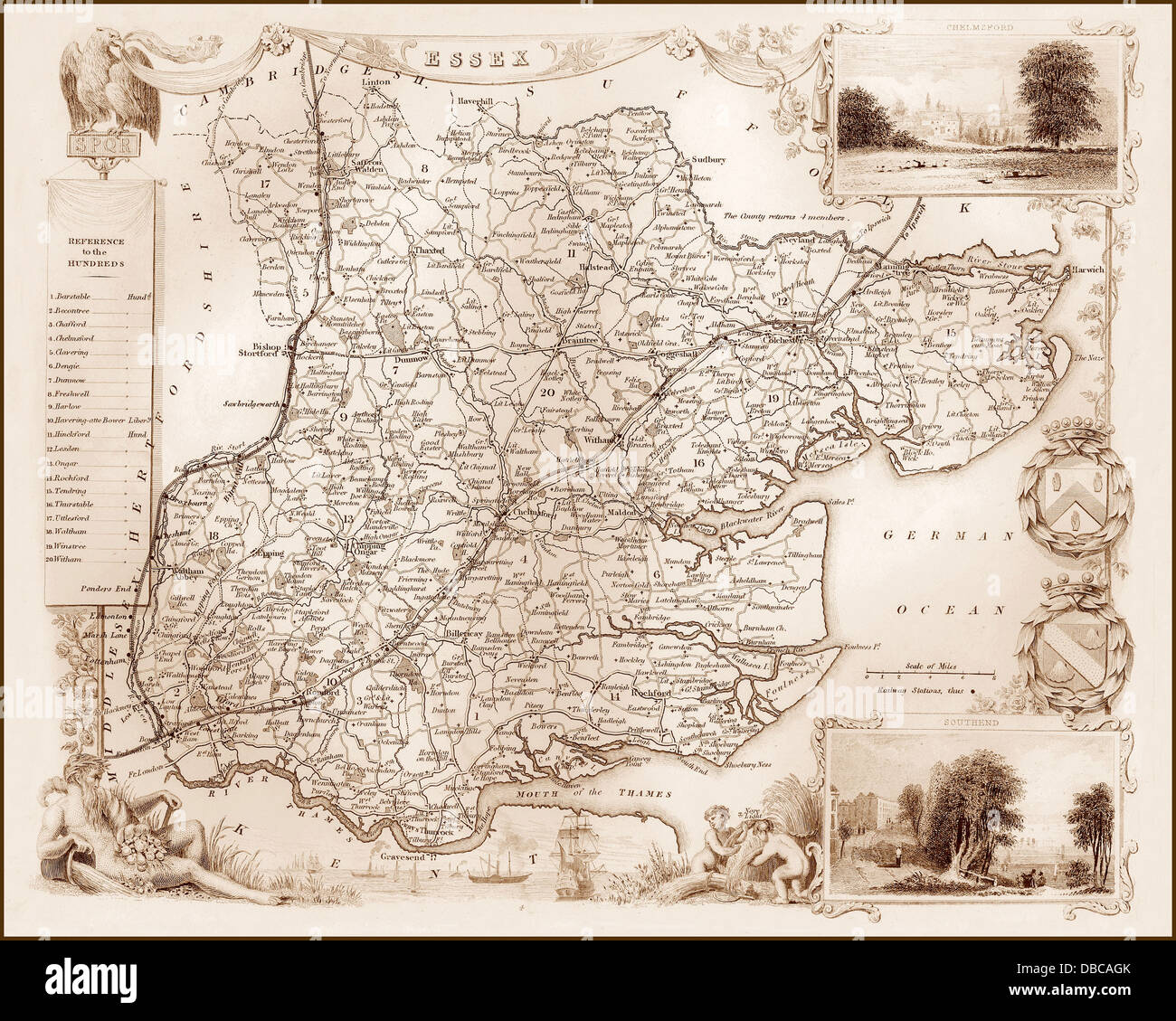 1840s Victorian Map of Essex - Stock Image