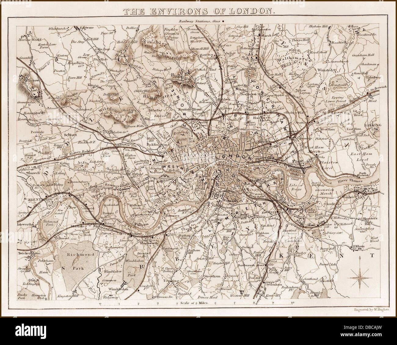 1840s Victorian Map of Greater London - Stock Image