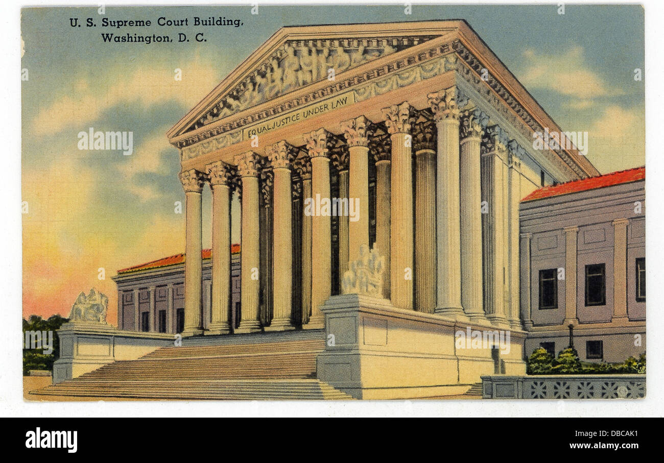 This 1940s postcard shows the U.S. Supreme Court Building in Washington, D.C. - Stock Image