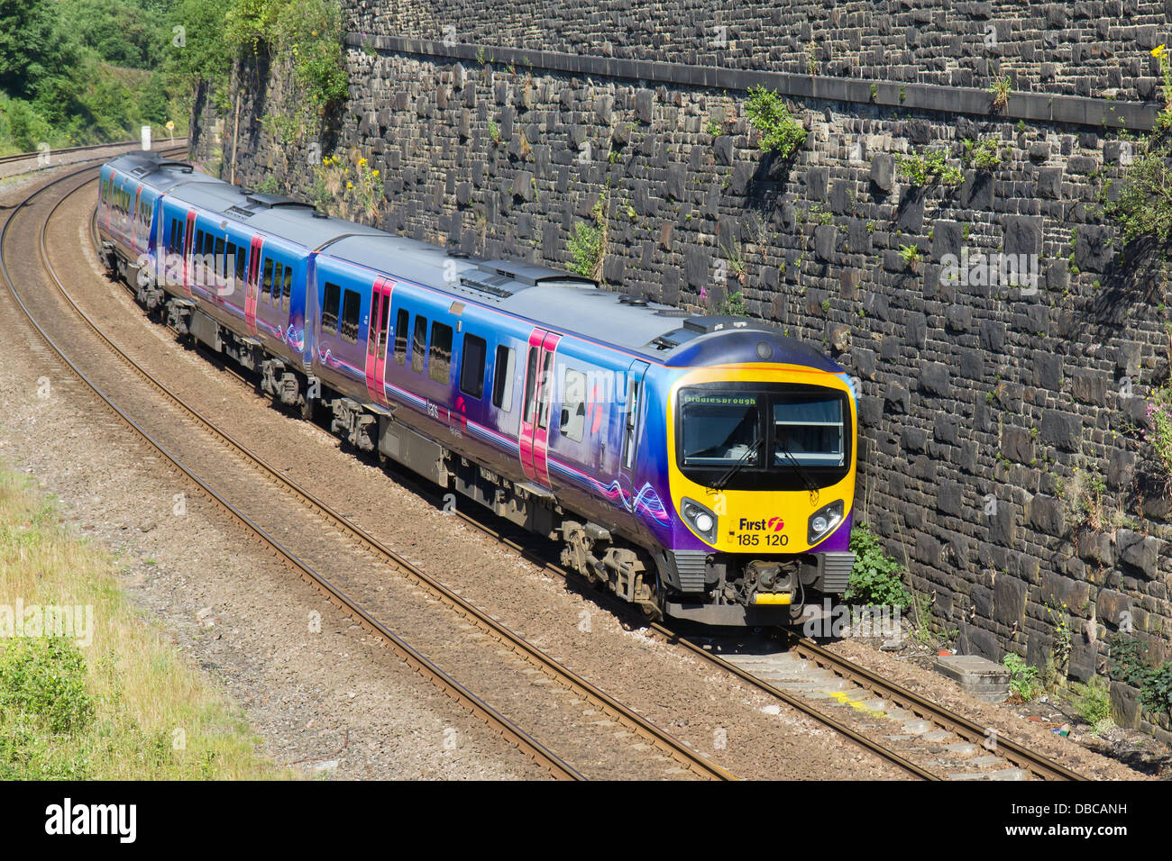 A class 185 Transpennine Express passing through Marsden, West Yorkshire on its way to Middlesborough on the 26th - Stock Image