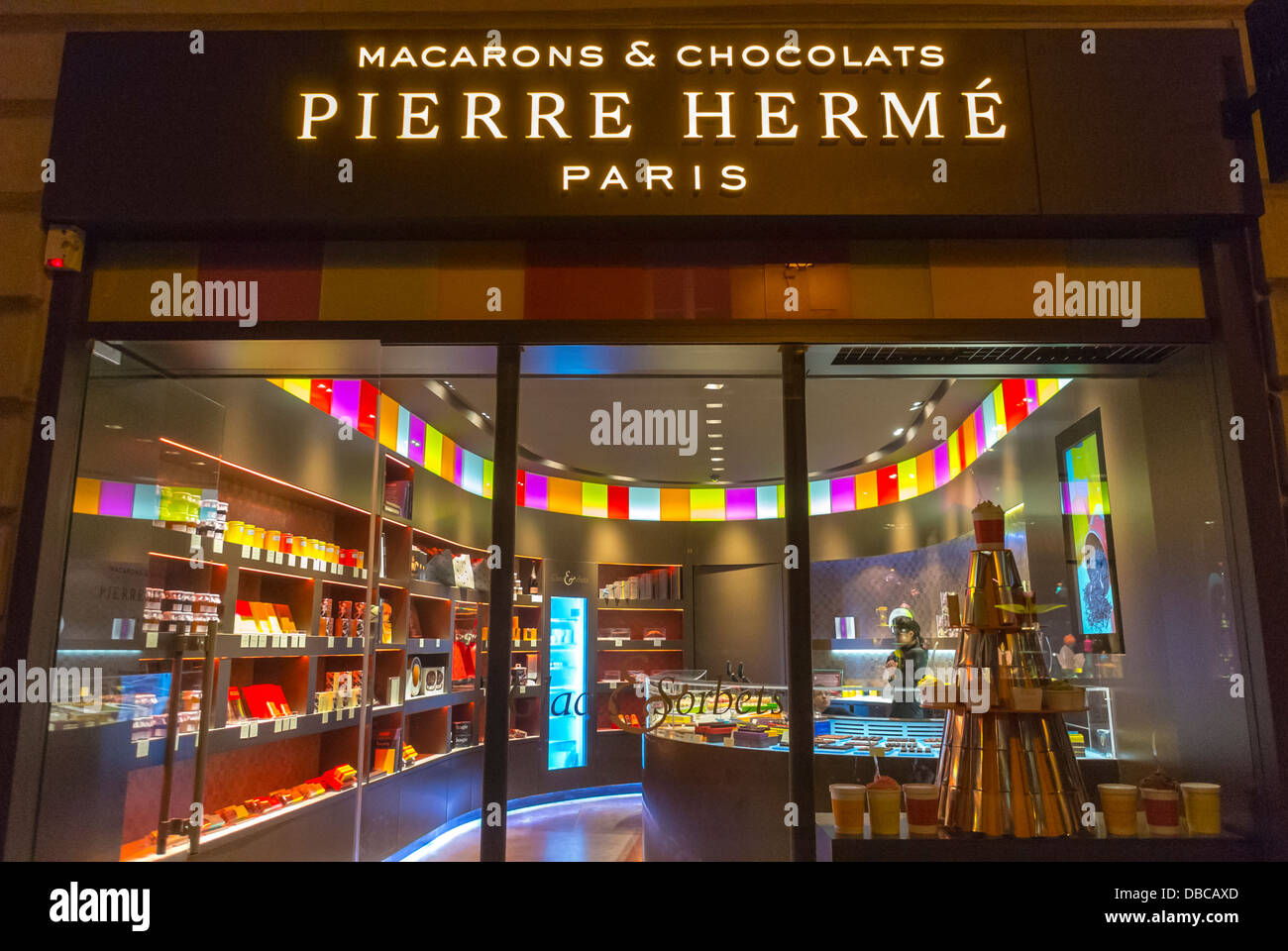 Paris, France, Inside French Chocolate and Macaroon Bakery Shop, 'Pierre Herme', (in the Marais), Front - Stock Image