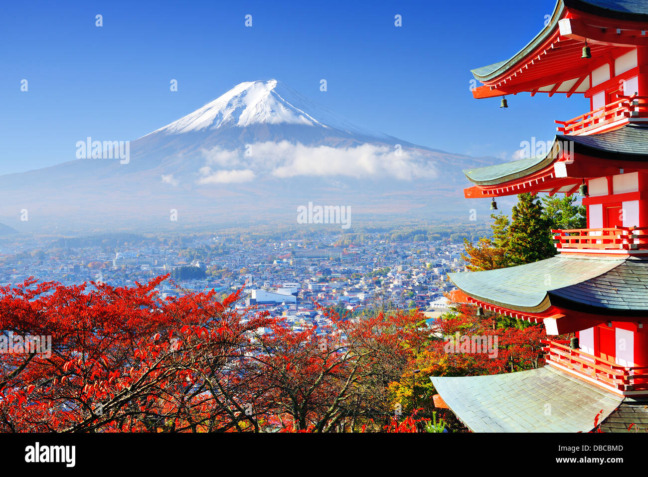 Mt. Fuji with fall colors in japan. - Stock Image