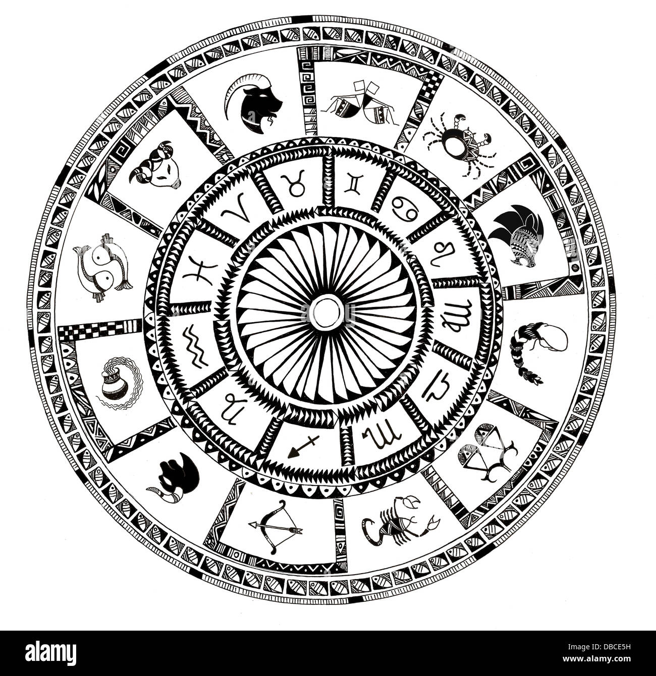 Illustration of Zodiac signs on white background - Stock Image